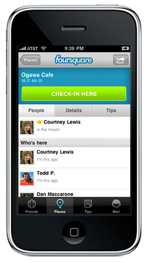 Foursquare pe iPhone