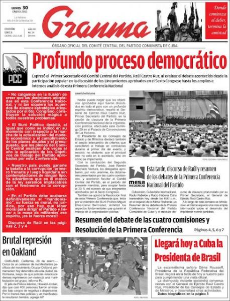 Granma, ziarul Partidului Comunist Cubanez