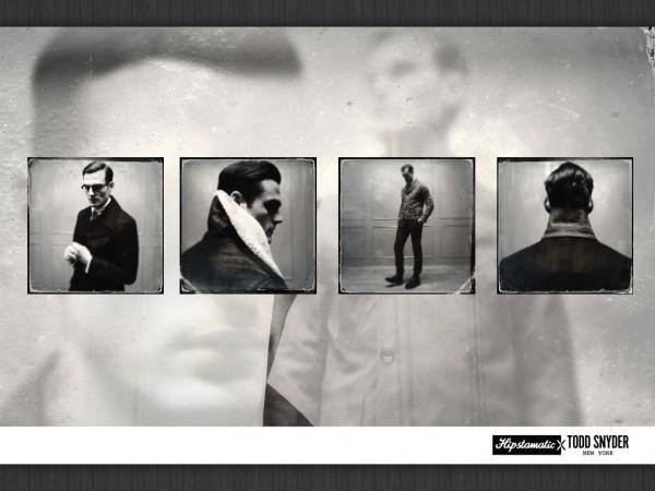 Pictorial de modă, cu background și informația expediată într-un fel de coloncifru, în dreapta, jos.