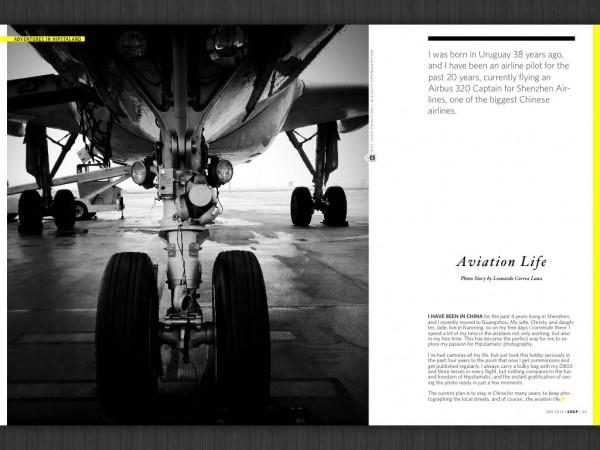 Un spread oareșcare. De remarcat titlul foarte mic, cu italice, și simetria pozei din stânga.