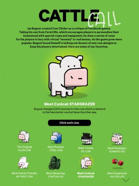Vaci interactive. Cele opt, de jos, modifică imaginea mare la tap