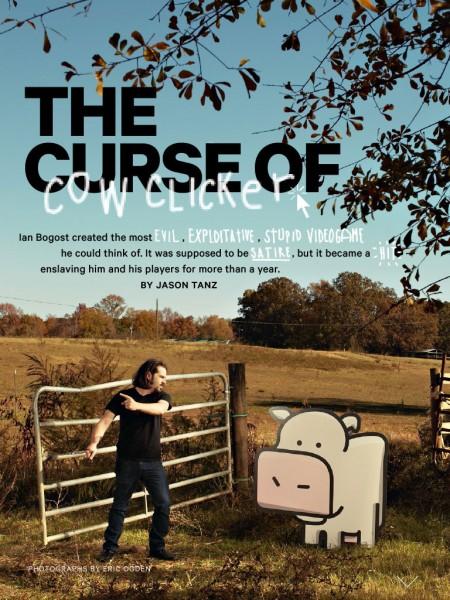 Deschiderea unui articol despre Cow Clicker, un joc de Facebook. Vaca din imagine este interactivă