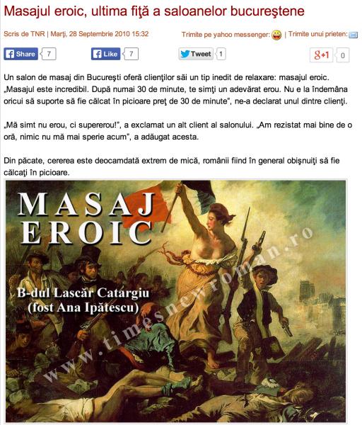 Masajul eroic pe site