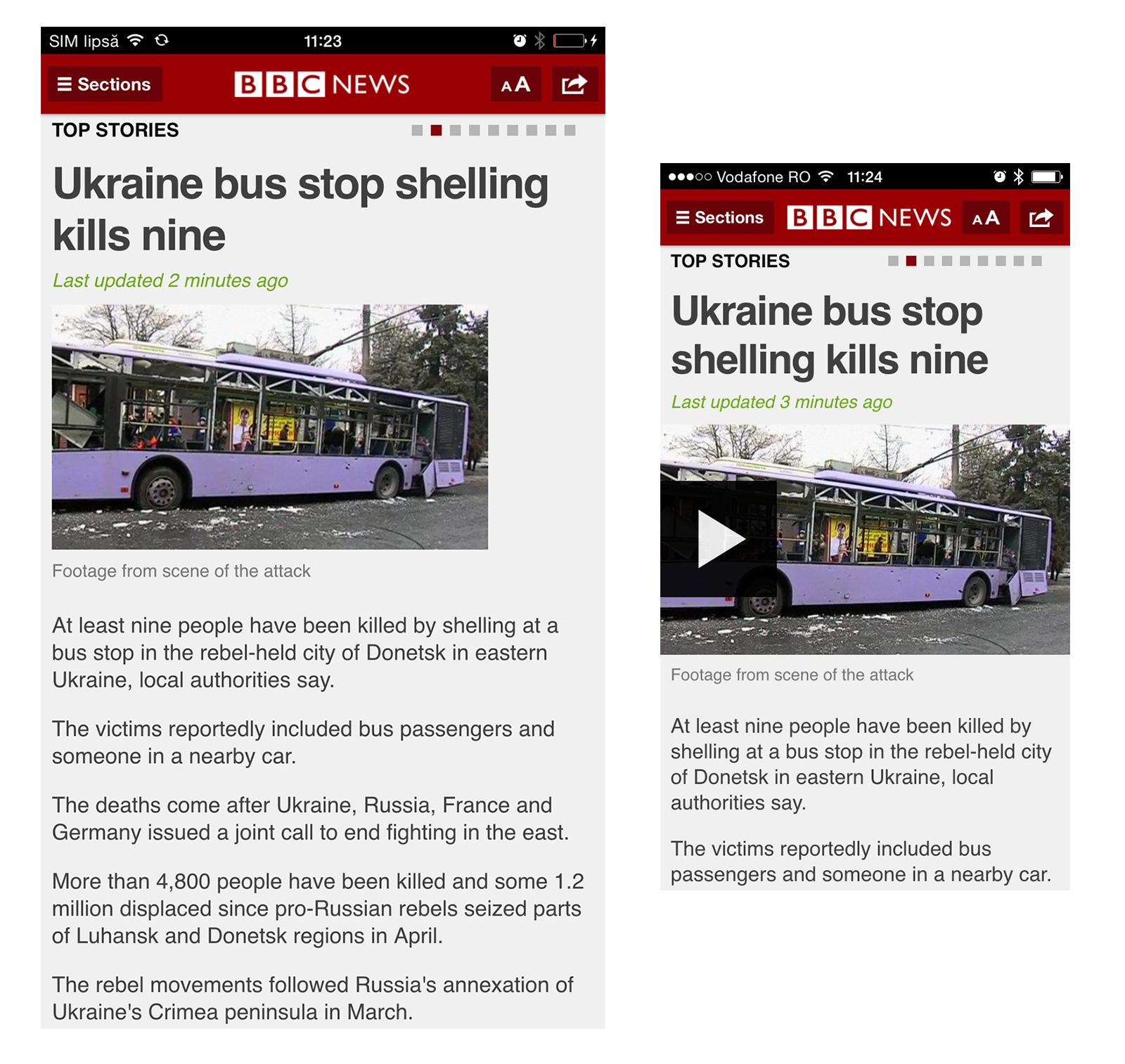 Aplicația de știri a BBC pe iPhone 6 plus și pe iPhone 5. Pe phablet (6 plus) e mai sărăcăcioasă și dezordonată - vezi și dimensiunile pozei