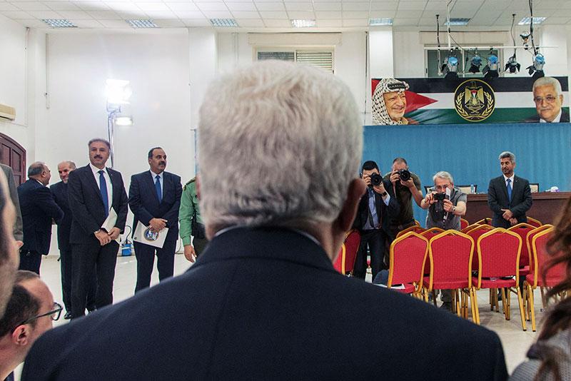 Mahmoud Abbas la întâlnirea cu presa din România, 5 aprilie 2016