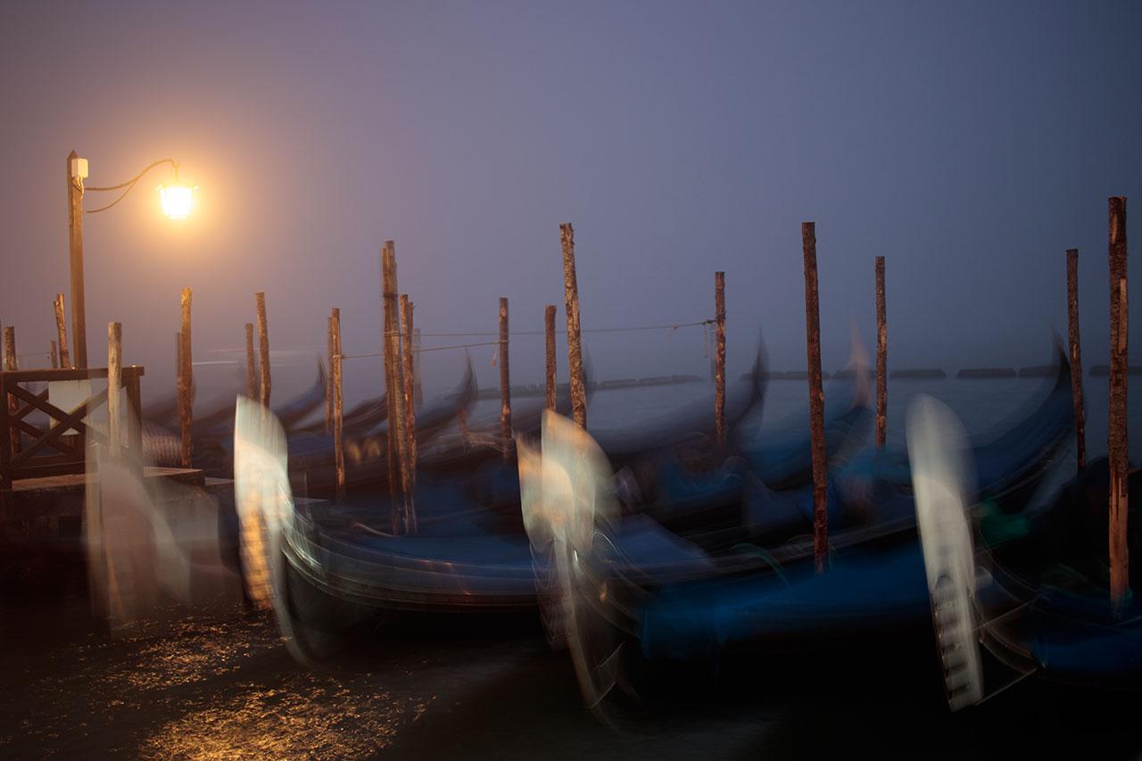 Gondolas on fog, Venice